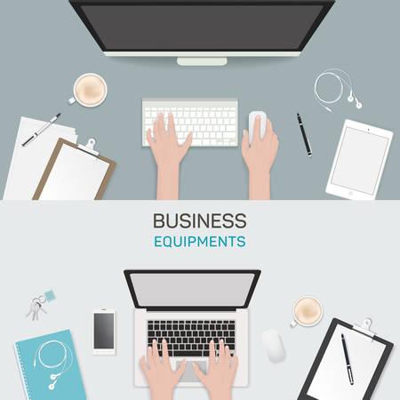 freelance: Office object business activity flat vector illustration freelance