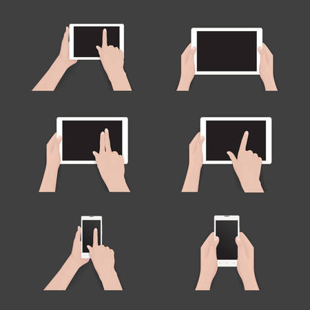 Vector set of commonly used multi-touch gestures for tablets or smartphone. Black tablet, smartphone, touch screen. Duo tone icons Illustration