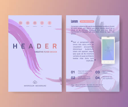 watercolor paper: Booklet, cellular phone mobile phone, magazine poster, flyer, abstract banner, creative, decorative illustration ,vector, brochure design template,  Watercolor sheet, paper, aquarelle Illustration
