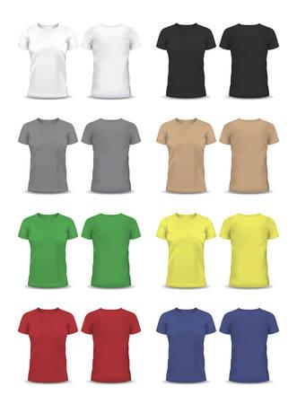 Vector T-shirt, plantilla de diseño, con mangas raglán, mujeres y hombres Vectores