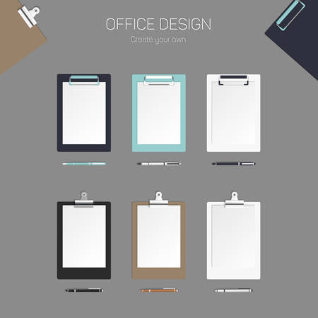 sheet of paper: Vector clipboard with paper and pen, set for design Illustration