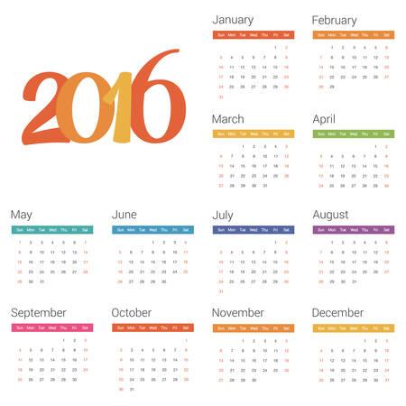 calendario octubre: Calendario para 2016 en el fondo blanco. Vector Vectores