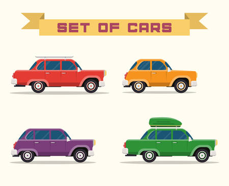 set with vintage cars, flat style