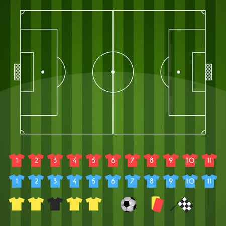 Football field and football icons for strategy