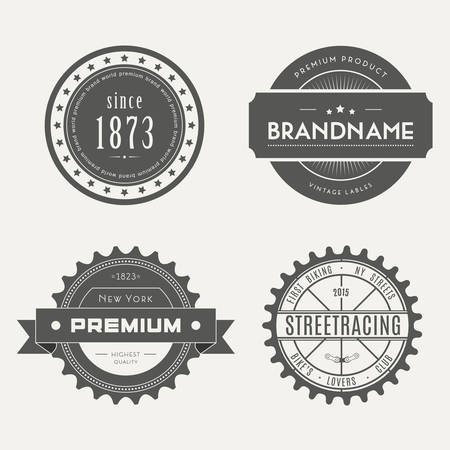 name badge: Retro Vintage Insignias set. Vector design elements, business signs, identity, labels, badges and objects. Illustration