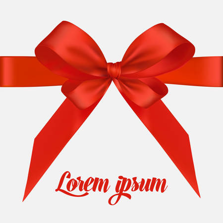 red bow: Holiday background with red bow and ribbon