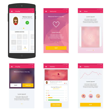 mobile application: Flat Mobile Web UI Concept for mobile Illustration