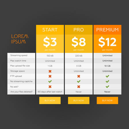 hosting: Tablet with pricing list  vector