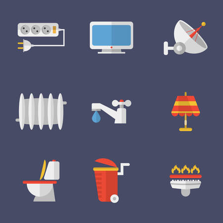 utilities: Set Of Icons Electricity, Heating, Water And Other Utilities. Vector Illustration