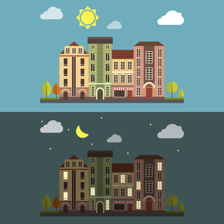 city at night: Day and Night Cityscape Vector landscape Illustration