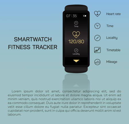 mileage: Health care, bracelet, hand, heart rate, time, locality, mileage, fitness tracker, jogging, pace, blue background Illustration