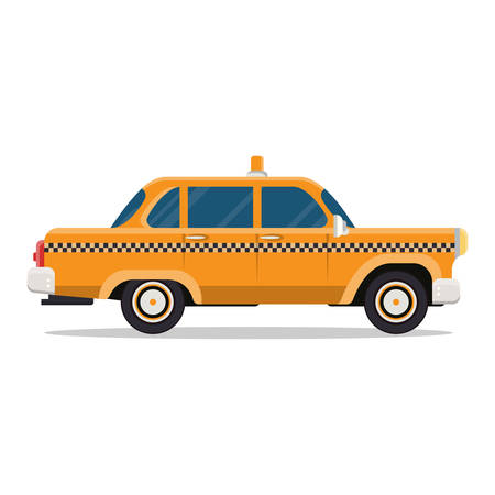 Vector graphic yellow retro Taxi cab on white background Vector