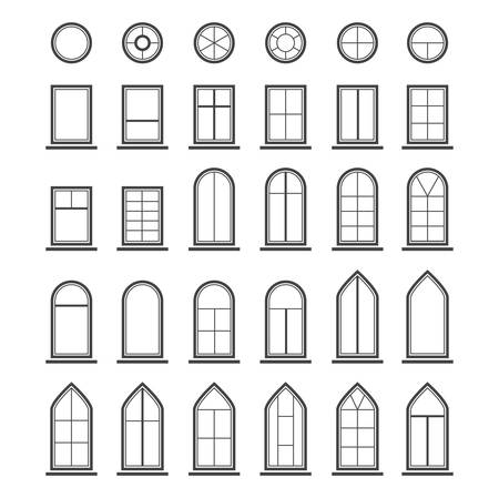 exterior architectural details: Different types of windows.  Illustration