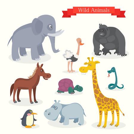 animal cartoons: Animal cartoons wild nature Illustration