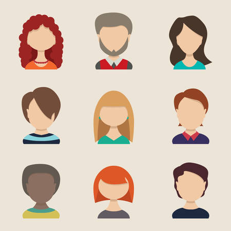caricaturas de personas: Gente iconos, avatares peolple, estilo plano