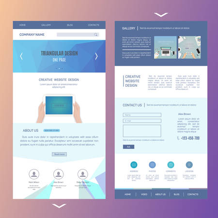 photo gallery: modern one page website template design with blurred background Illustration
