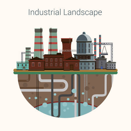 Industrial factory buildings set in flat design style