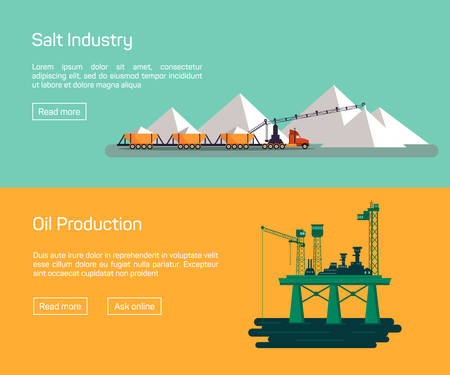 mine site: Oil Offshore Platform and salt production, vector banners