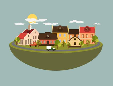 old fashioned car: Summer landscape in flat style - vector illustration