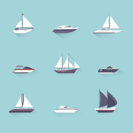Los barcos de motor de velocidad de chorro de agua y de navegaci�n de yates plantilla deporte pictogramas sombra plana establecer vectorial aislados ilustraci�n