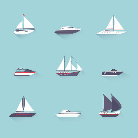 yacht: Water jet speed motor boats and yacht navigation sport template flat shadow pictograms set vector isolated illustration Illustration