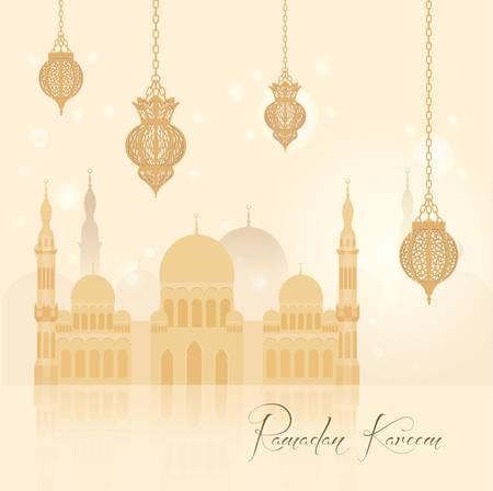 ramzan: Beautiful ramadan kareem background, vector illustration for your design Illustration