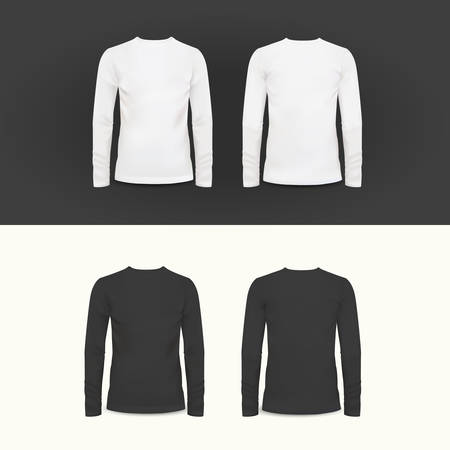 long sleeve shirt: Vector t-shirt, polo shirt and sweatshirt design template, vector illustration for your design