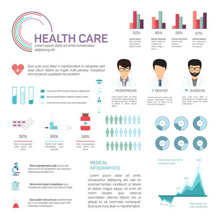 medical report: Medical Infographics, health and healthcare icons, data elements, infographic Illustration