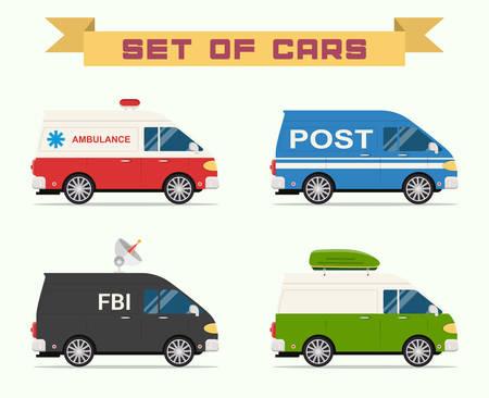 ambulancia: Conjunto de coches. Ilustraci�n vectorial para su dise�o