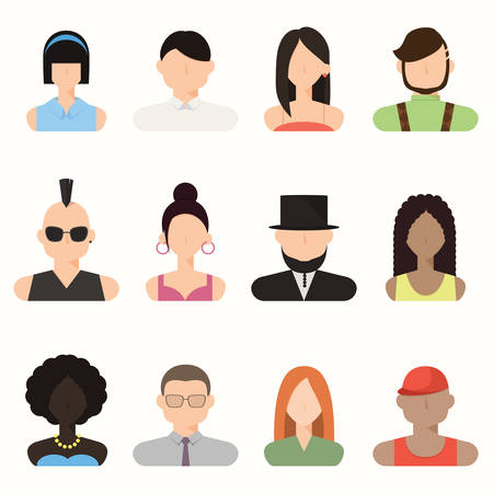 trendy male: People, avatar male and female, human faces, social network icons, vector, illustration, colorful faces, set in trendy flat style, icons