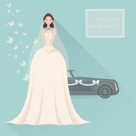 bride bouquet: Wedding invitation. Bride in lace wedding dress with bouquet, vector