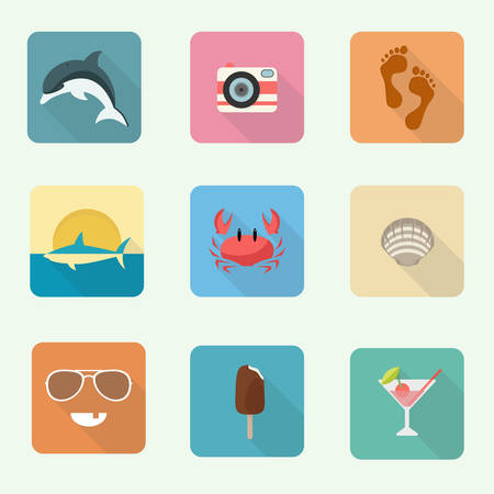 pink dolphin: Colorful icon set, vector illustration, eps 10 Illustration
