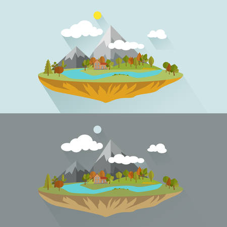 natural landscapes: Natural landscapes in a flat style on blue background, vector