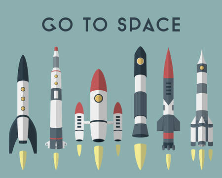 quick money: Rockets going to space. Vector flat design colored illustration