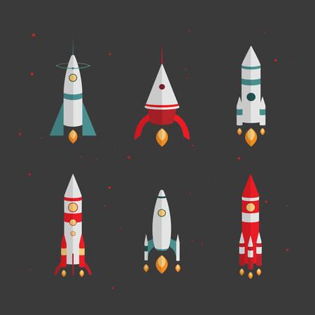 Tipos de cohetes. El lanzamiento al espacio, ilustraci�n vectorial para su dise�o, eps 10 Vectores
