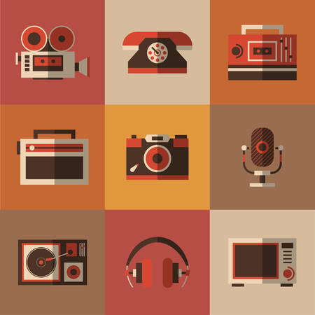 nostalgy: Set of nostalgy items. Radio, photo, phone, microphone in one picture, vector illustration for your design, eps 10 Illustration