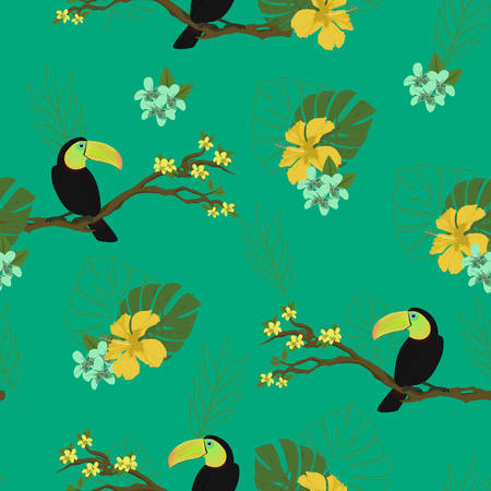 Watercolor birds. Seamless background, vector illustration for your design, eps 10