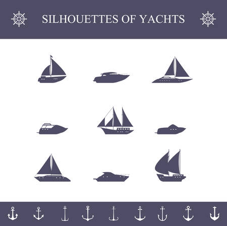 inflate boat: Ship sailing yachts and cruise boats silhouette icons set isolated vector illustration Illustration