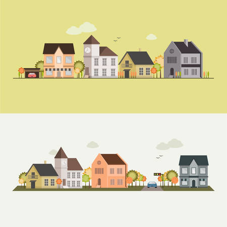 row of houses: Country side, house, field, vector illustration for your design, eps 10