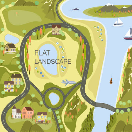 city view: Top view of the map. Project of the city, vector illustration for your design, eps 10 Illustration