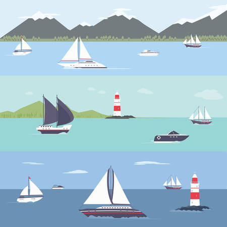the hovercraft: Ship traveling, island landscape, sailing, vector illustration for your design, eps 10