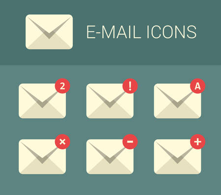 mail address: Mail design elements for website. Set of communication icons. Mail icons