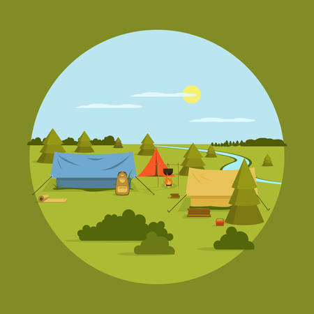 summer field: Vector image of camping on vocation