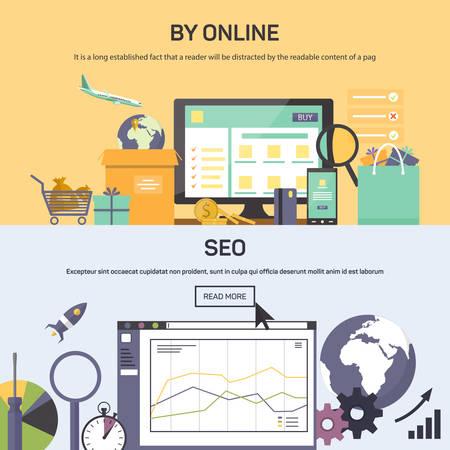 network marketing: Ilustraciones del vector de la bandera - que compran en l�nea y optimizaci�n SEO. Estilo Piso en sus situaciones de dise�o