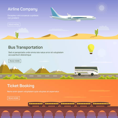 airplane ticket: Colorful vector flat banners set. Quality design illustrations, elements and concept. Flying airplane. Train. Bus.