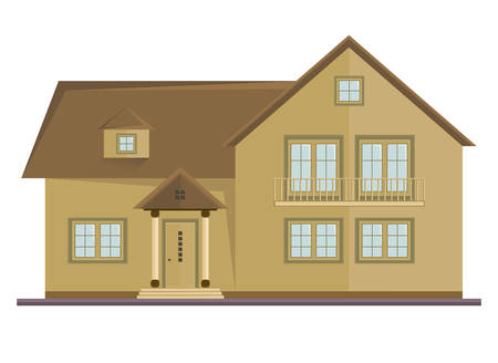 concrete stairs: Vector picture of two floor house Illustration