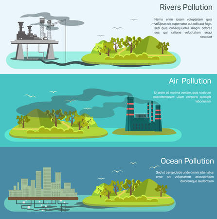 Vector landscape with air, ocean pollution. Island polluted from plants Çizim
