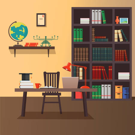 work office: Illustration of modern home office workspace. Flat minimalistic style. Home office design