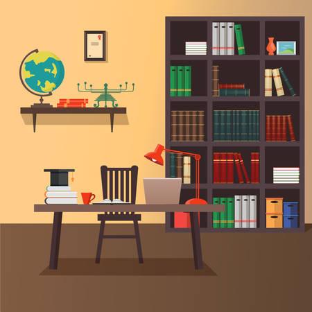 trabajando en casa: Ilustración de la moderna área de trabajo de la oficina en casa. Estilo minimalista plana. Diseño de la oficina Inicio