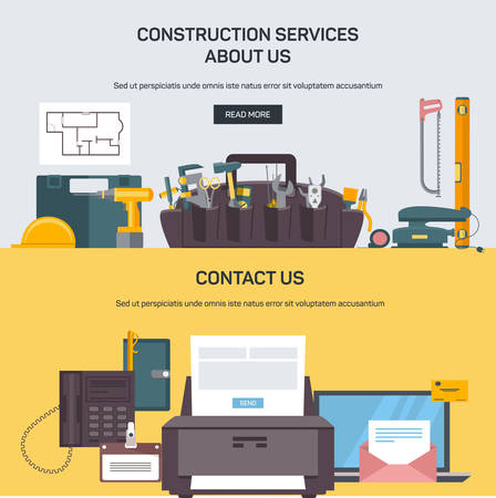 advertising construction: Advertising construction services, vector banners Illustration